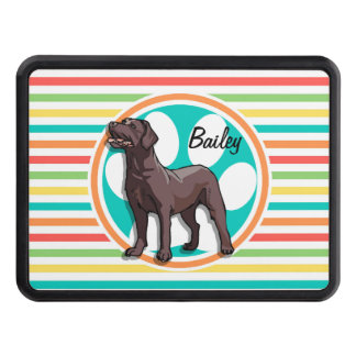 Chocolate Lab; Bright Rainbow Stripes Tow Hitch Cover