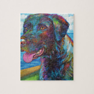 Chocolate Lab By The Seawall Jigsaw Puzzle