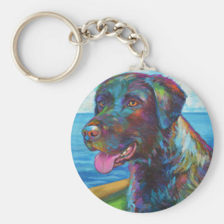 Chocolate Lab By The Seawall Basic Round Button Keychain