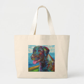 Chocolate Lab By The Seawall Large Tote Bag