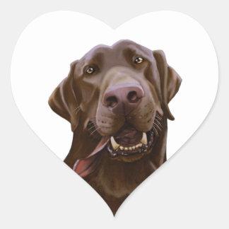 Chocolate Lab Caricature Cartoon Heart Sticker