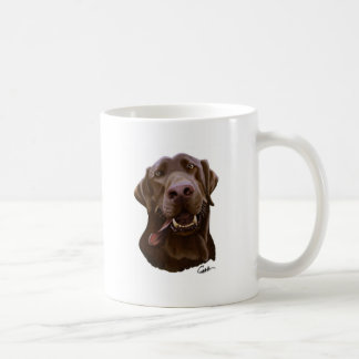 Chocolate Lab Caricature Cartoon Classic White Coffee Mug