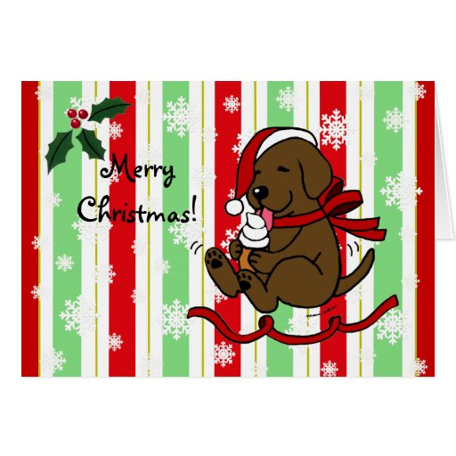 Chocolate Lab Cartoon Christmas Snowflakes Card