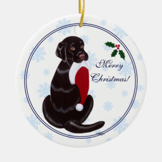 Chocolate Lab Christmas Santa Hat Snowflake Ornament