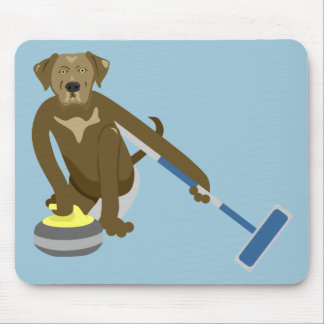 Chocolate Lab Curling Mouse Pad
