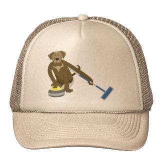 Chocolate Lab Curling Trucker Hat