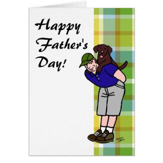 Chocolate Lab Daddy Plaid Card