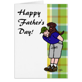 Chocolate Lab Daddy Plaid Greeting Card