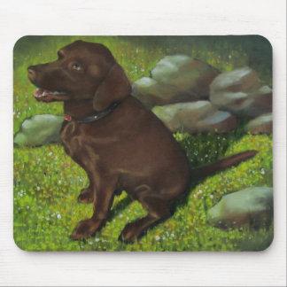 Chocolate Lab Dog: Oil Pastel Painting: Animal Art Mouse Pad