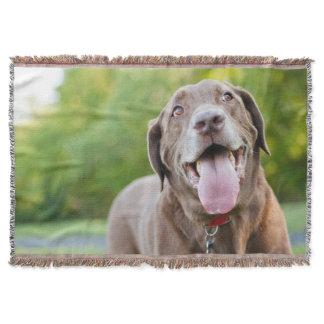 Chocolate Lab Dog Throw Blanket
