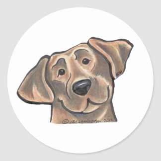 Chocolate Lab Face Classic Round Sticker