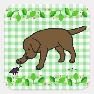 Chocolate Lab Friendly Cartoon Labrador leaves Square Sticker