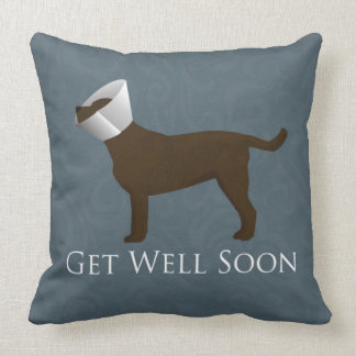Chocolate Lab Get Well Soon Design Throw Pillow