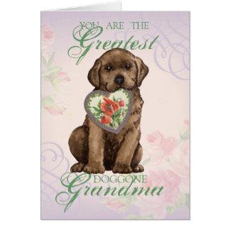 Chocolate Lab Heart Grandma Card