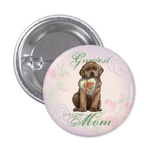 Chocolate Lab Heart Mom Button
