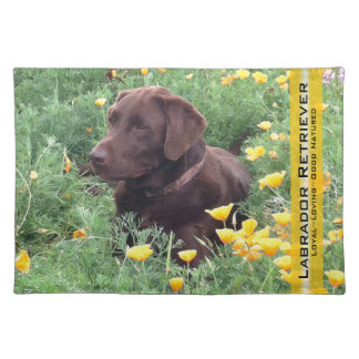 Chocolate Lab in California Poppy Patch Placemat