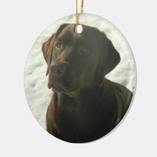 Chocolate Lab in The Snow Christmas Ornament