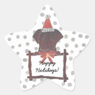 Chocolate Lab, Labrador Retriever, Holidays Star Sticker