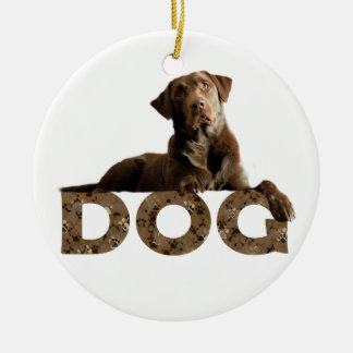 Chocolate Lab Laying Lounging on the word DOG Ceramic Ornament