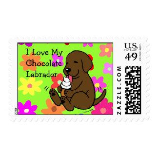 Chocolate Lab Licking Ice Cream Postage Stamp