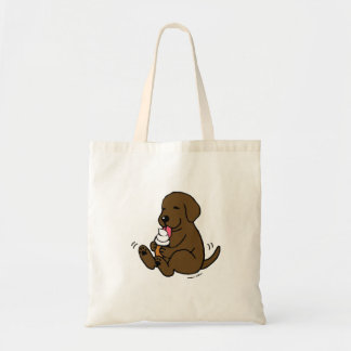 Chocolate Lab Licking Ice Cream Tote Bag