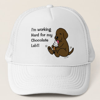 Chocolate Lab Licking Ice Cream Trucker Hat