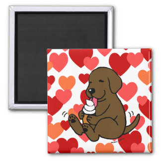 Chocolate Lab Licking Ice Cream with Hearts 2 Inch Square Magnet