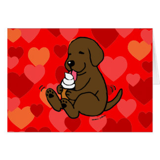 Chocolate Lab Licking Ice Cream with Hearts Card