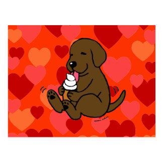 Chocolate Lab Licking Ice Cream with Hearts Postcard