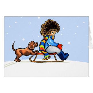Chocolate Lab Little Helper Winter Card
