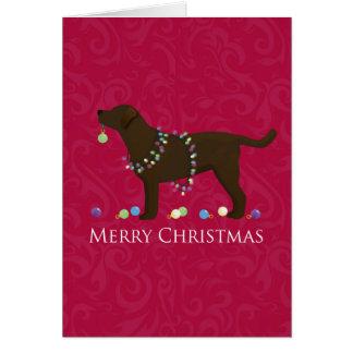 Chocolate Lab Merry Christmas Design Cards