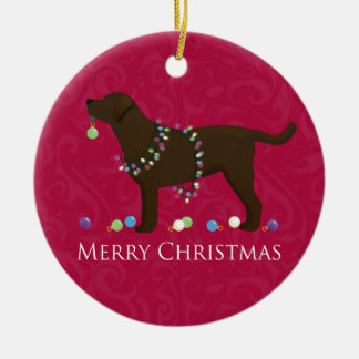 Chocolate Lab Merry Christmas Design Ceramic Ornament