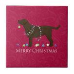 Chocolate Lab Merry Christmas Design Ceramic Tiles