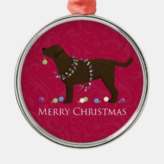 Chocolate Lab Merry Christmas Design Metal Ornament