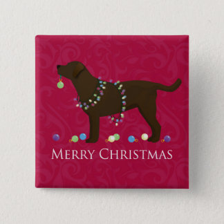 Chocolate Lab Merry Christmas Design Pinback Button