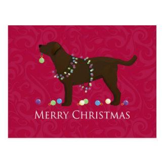 Chocolate Lab Merry Christmas Design Postcard