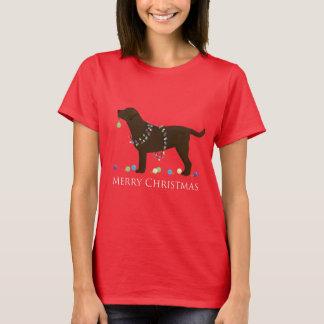 Chocolate Lab Merry Christmas Design T-Shirt