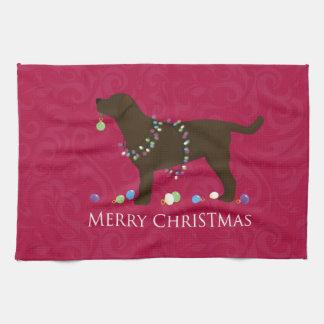Chocolate Lab Merry Christmas Design Towel