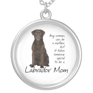 Chocolate Lab Mom Round Pendant Necklace