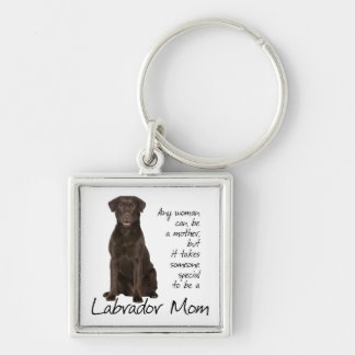 Chocolate Lab Mom Silver-Colored Square Keychain
