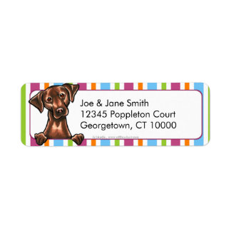 Chocolate Lab Multi-Color Stripes Label