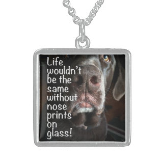 Chocolate Lab Nose Close Up Photograph Sterling Silver Necklace