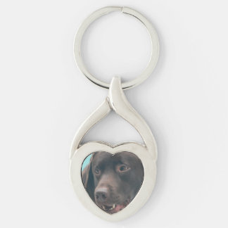 Chocolate Lab Silver-Colored Heart-Shaped Metal Keychain