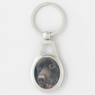 Chocolate Lab Silver-Colored Oval Metal Keychain