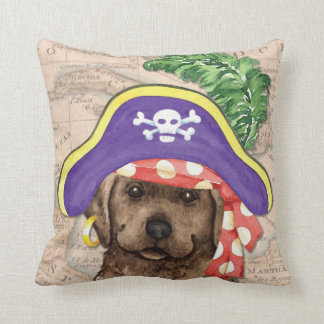 Chocolate Lab Pirate Throw Pillow