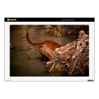 Chocolate Lab Pit Mix Dog Digging Decals For Laptops