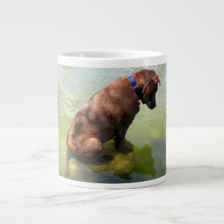 Chocolate Lab Pit Mix Dog Fishing 3 Giant Coffee Mug