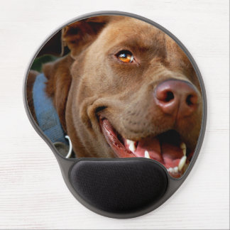 Chocolate Lab Pit Mix Dog Happy Smile Gel Mouse Pad
