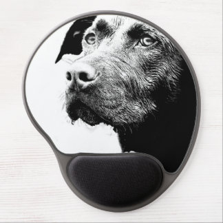 Chocolate Lab Pit Mix Dog in Black and White Gel Mouse Pad