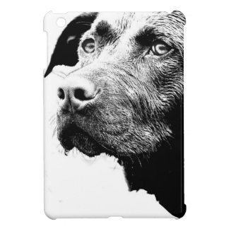 Chocolate Lab Pit Mix Dog in Black and White Cover For The iPad Mini